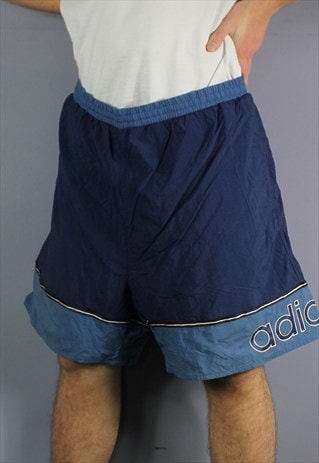 VINTAGE ADIDAS SHORTS IN NAVY BLUE WITH POCKETS, PRINTED LOG