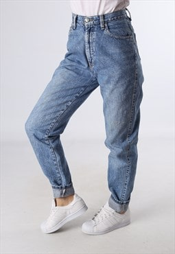 High Waisted Denim Jeans Wide Tapered Leg UK 10 (E92J)