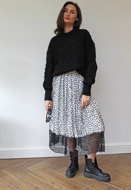 Spotty Lace Midi Skirt