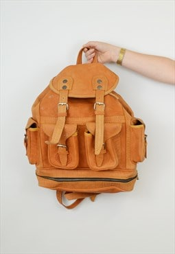 Vintage Leather Backpack Tan Multi Buckle Drawstring