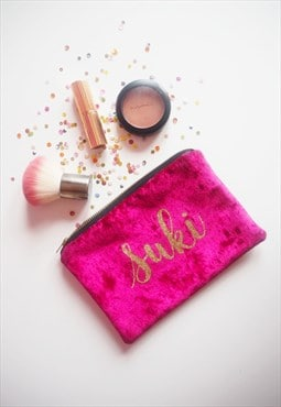 Personalised Makeup Bag In Pink Velvet