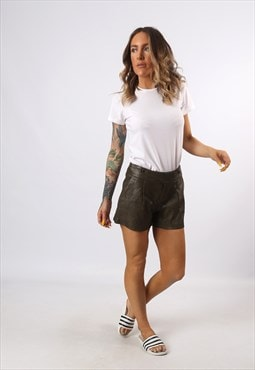 Mid High Waisted Leather Shorts Bohemian UK 8 - 10 (H7CX)