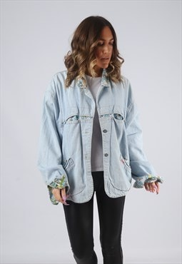Denim Jacket Print Lined Oversized Cowboy UK 16  (HWBX)
