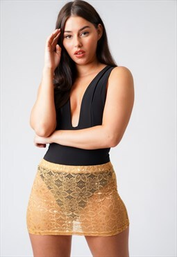 Samantha Nude Net Lace Mini Skirt