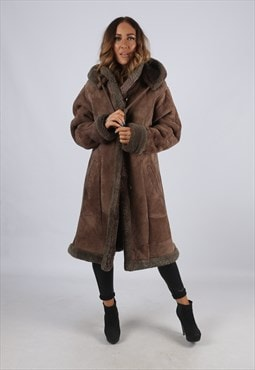 Vintage Sheepskin Suede Shearling Coat Long Hooded (J2E)