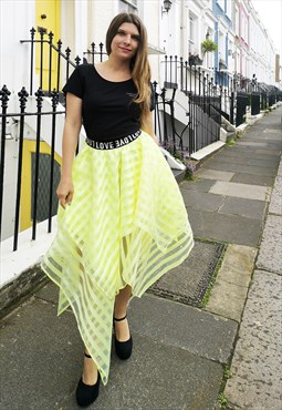 Yellow Stripes Organza Skirt with Elastic Band