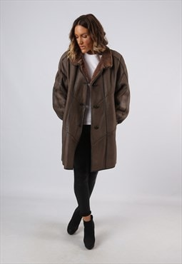 Sheepskin Leather Shearling Coat UK 18 (B92M)
