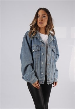 Vintage Denim Jacket Oversized Fitted UK 18 XXL (HP1M)