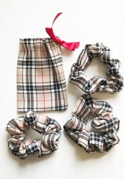 3  Reworked Check Scrunchies &  gift bag