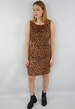 Vintage Moschino leopard print velvety soft fitted dress