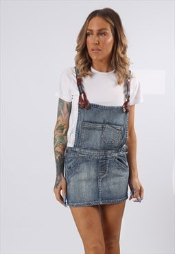 Denim Dungaree Dress Mini Short Vintage UK 8  (E5DQ)