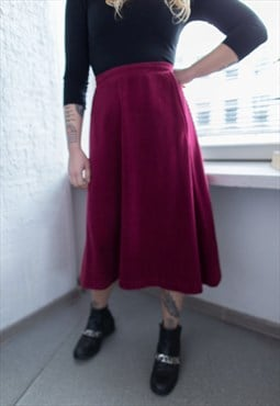 Vintage 70's Red High Waisted A Line Skirt