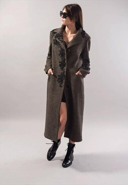 Melange Lined Coat/Wool/Winter/Lace detail/Autumn/Warm/F1739