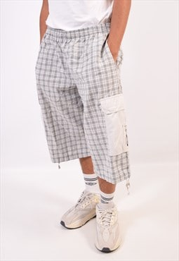 Vintage Think Pink Cargo Shorts Check White