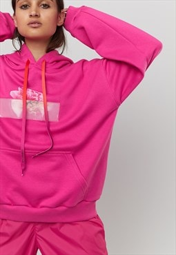 Printed Oversized Hoody With PEONY Slogan in Pink