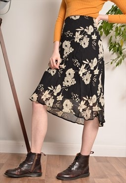 Vintage NEW LOOK Floral Chiffon Skirt in Black