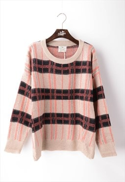 Long Sleeve Jumper in Pink and Beige Check Print