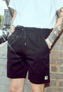 Black Drawstring Shorts with Panther Logo