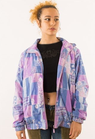 VINTAGE 90S PINK PURPLE FLORAL GRID CRAZY PRINT JACKET