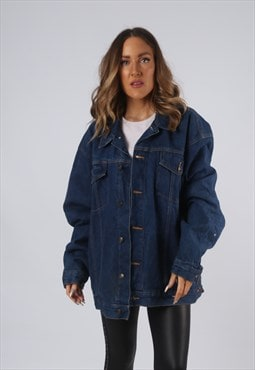 Vintage Denim Jacket Lined Oversized Fitted UK 20 XXXL (O1H)