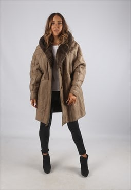 Vintage Sheepskin Leather Shearling Coat Short Hooded (K92B)