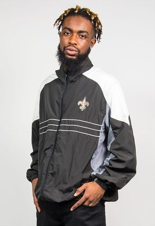 NFL 90'S NEW ORLEANS SAINTS BLACK WINDBREAKER JACKET