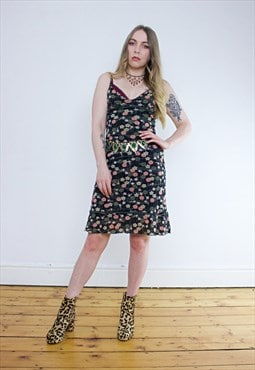 Vintage 90's Kookai Black Floral Midi Dress