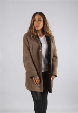 Vintage Sheepskin Suede Shearling Coat Short 10 - 12  (92A)