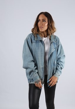 Vintage Denim Bomber Jacket Oversized Fitted UK L 14 (J2J)