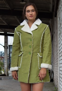 Vintage retro green  corduroy faux fur coat jacket