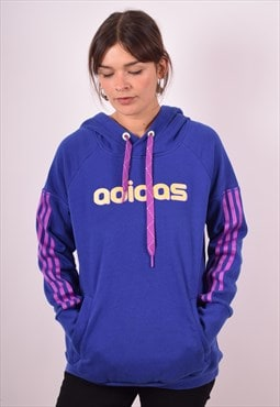 Adidas Womens Vintage Hoodie Jumper Large Purple 90s