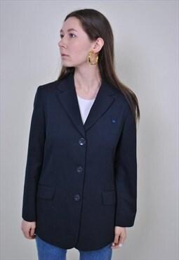 90s blue formal blazer, vintage minimalist suit jacket