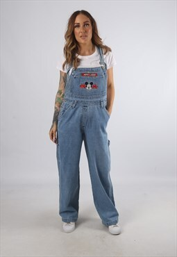 Vintage DISNEY Denim Dungarees Mickey Wide Leg S 10 (93H)