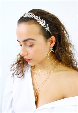 Silver Metal Leaf Grecian Crown Headband
