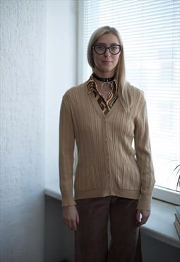 Vintage 80's Camel Ribbed Button Up V-Neck Cardigan