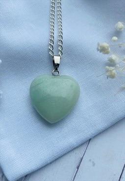 Green Jade Gemstone Heart Necklace
