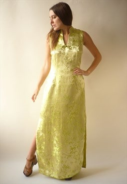 Vintage Yellow/Lime Green Cheongsam Satin Floral Maxi Dress