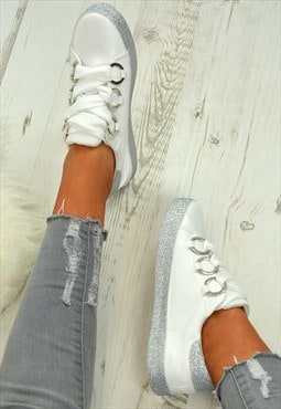 Ladies Glitter Sneakers Trainers White Silver Shoes