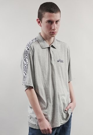 VINTAGE 90'S ASICS TAPED LIGHT GREY POLO T-SHIRT