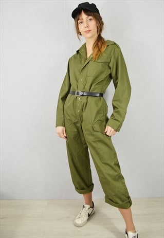 Vintage Green Military Boilersuit Jumpsuit