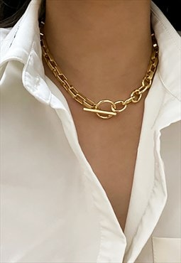 Box Chain Toggle Clasp Choker Chunky Necklace Chain - Gold