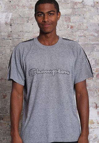 Vintage Champion Tape Logo Spellout T-Shirt Grey