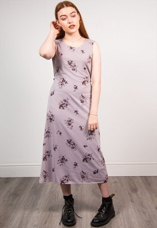 VINTAGE 90'S PURPLE FLORAL PATTERN SLEEVELESS MIDI DRESS