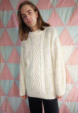 Vintage 60s Cream Wool Aran / Cable Knit Christmas Jumper