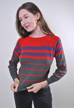 Vintage woman striped minimalist sweater pullover