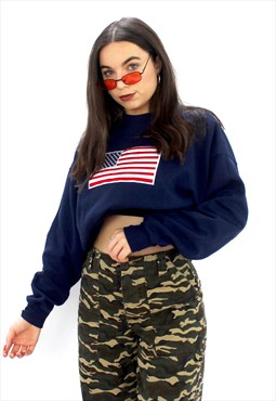 90's Retro Blue Oversized American Flag Sweatshirt