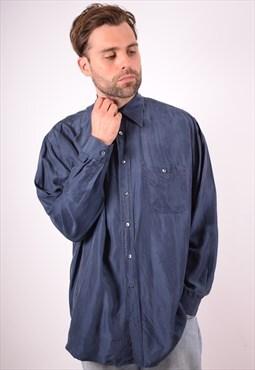 Benetton Mens Vintage Shirt Large Navy Blue 90s