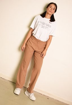 90's retro classy neutral tapered straight trousers