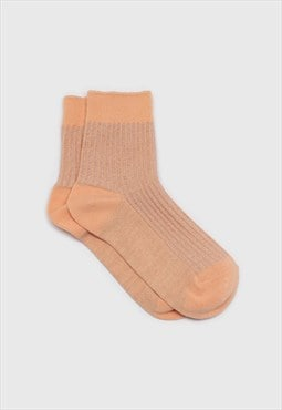 Sherbet orange metallic vertical stripe socks