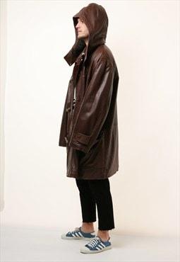 90s Vintage Oldschool RUFFO Hooded Heavy Leather Coat 15474